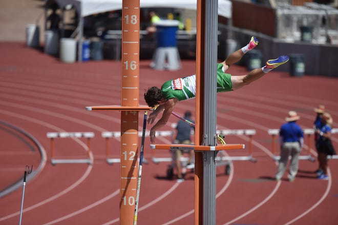 Wall's Garrett Stephens competes in the pole vault Friday, May 12, during Class 3A competition at the UIL State Track and Field Championships in Austin.