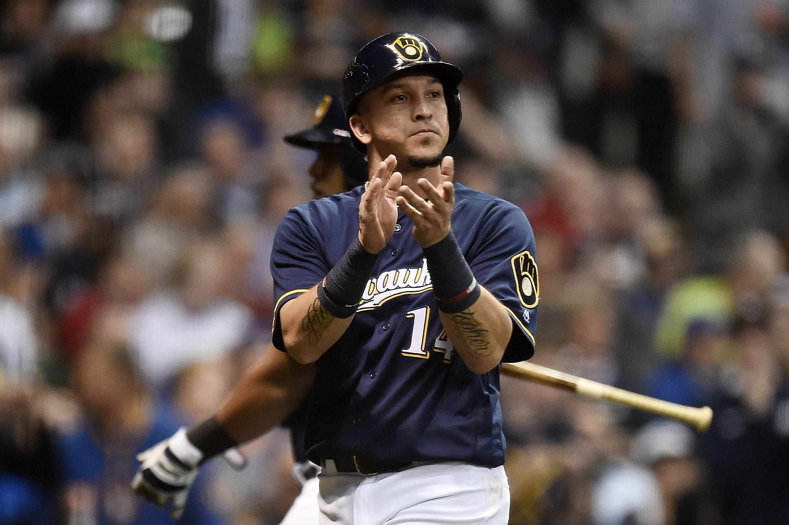 Hernán Pérez gets first crack in left field in place of Ryan Braun