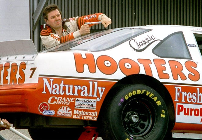 Race car driver Alan Kulwicki is shown working on his car March 26, 1993, prior to qualifying for the TranSouth Financial 500 race at Darlington Raceway in South Carolina.