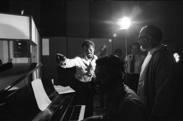 R&B and soul singer Wilson Pickett, left, and producer Jerry Wexler, right, chat while recording at the Muscle Shoals Sound Studio on Nov. 24, 1969, in Sheffield, Alabama.