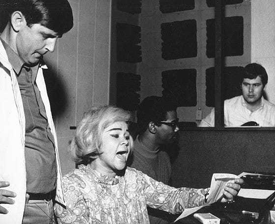 MUSCLE SHOALS AL - CIRCA 1967:  (L-R) Rick Hall, R and B singer Etta James, Marvell Thomas and David Hood recording at Fame Studios circa 1967 in Muscle Shoals, Alabama. (Photo by House Of Fame LLC/Michael Ochs Archive/Getty Images)