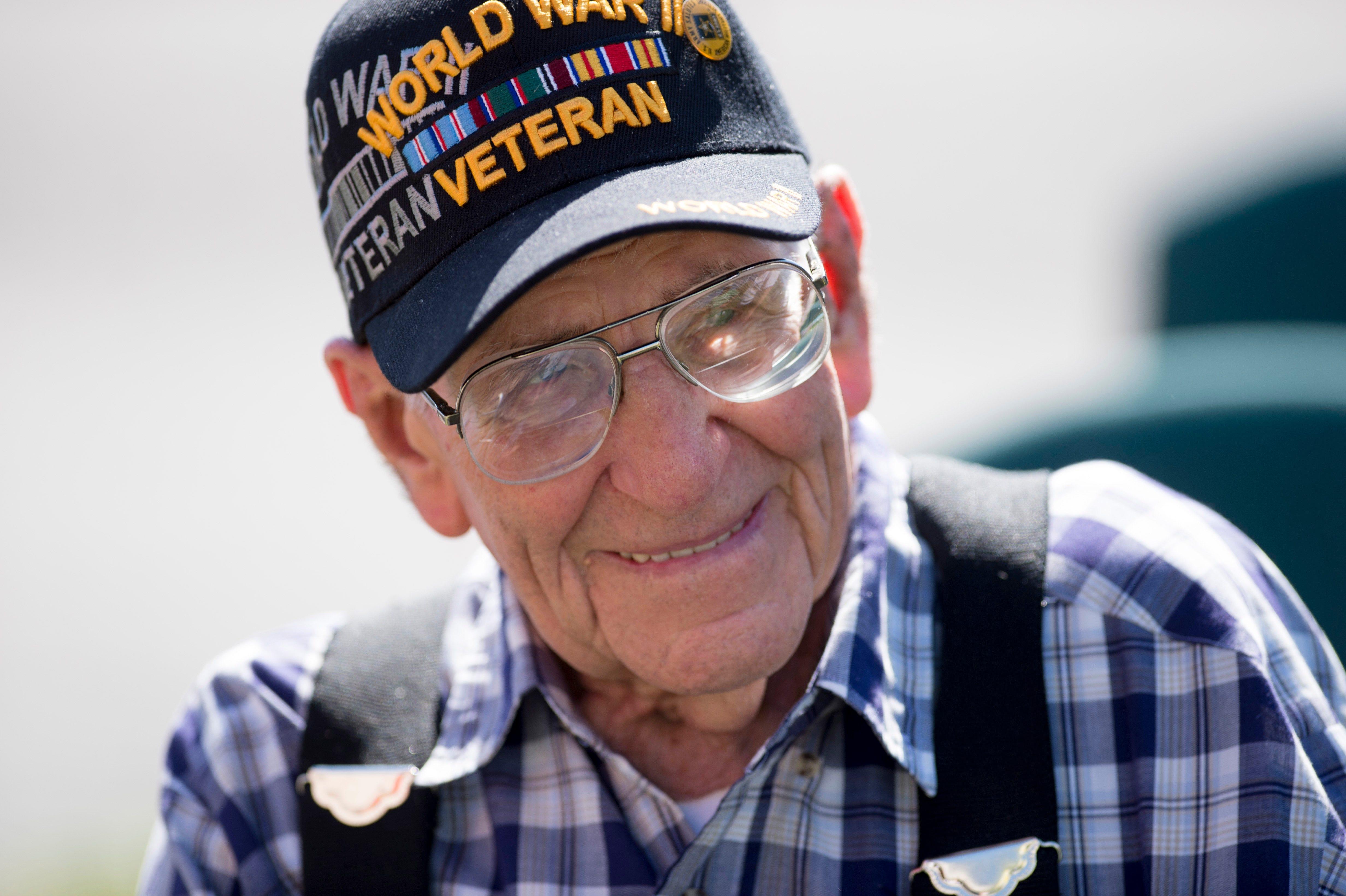 U.S. Army World War II veteran Carl Mann of Evansville attends the Memorial Day services at Alexander Memorial Park on Evansville's West Side in 2017.