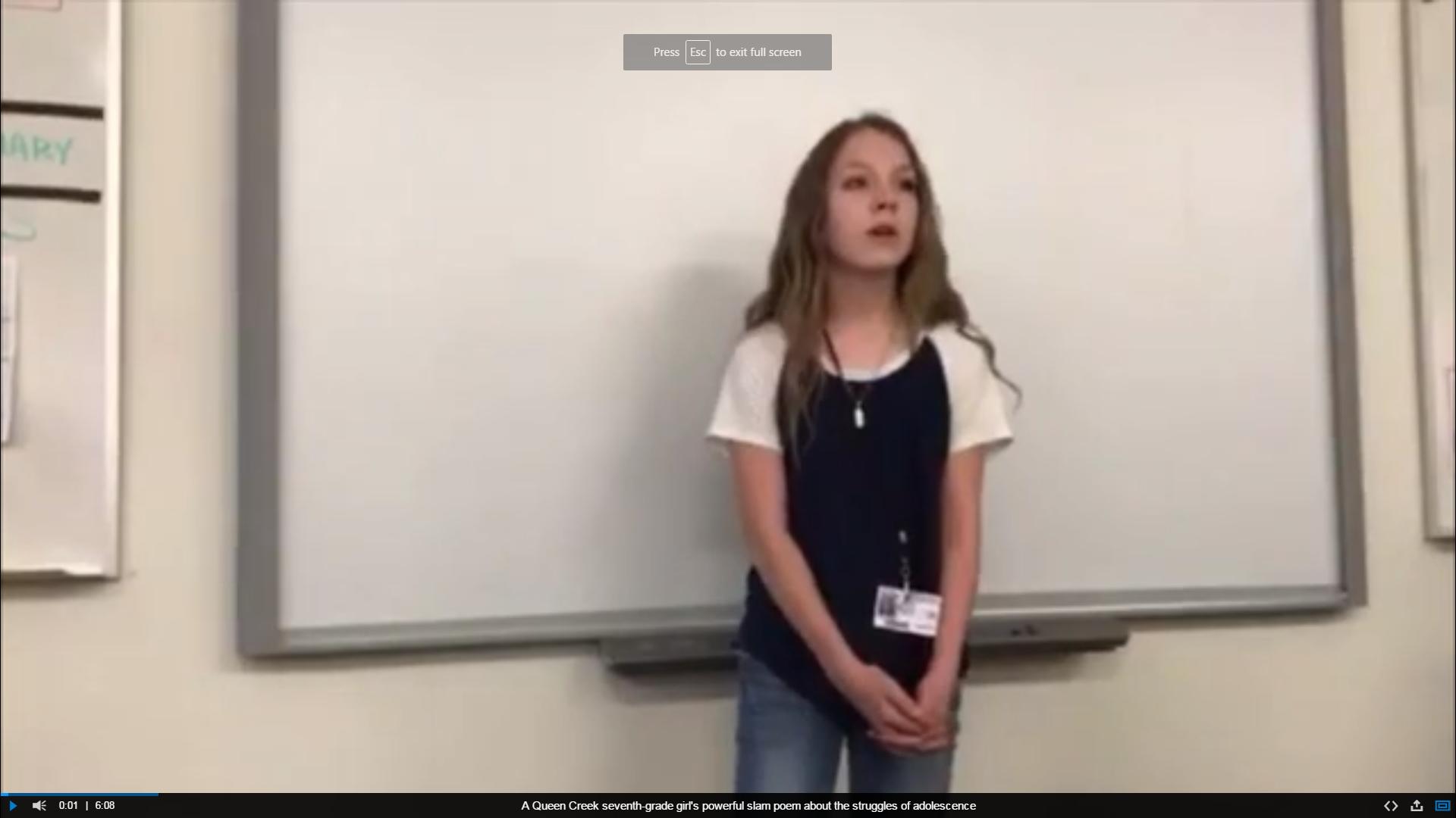 'Why am I not good enough?': 7th-grader's slam poem goes viral