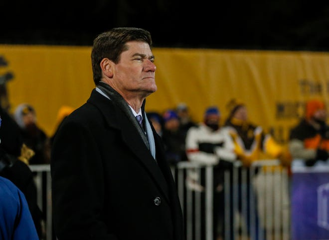Mountain West commissioner Craig Thompson watches the conference's football championship game from the sidelines Dec. 3 in Laramie, Wyo. Thomson is returning to the NCAA Division I Men's Basketball Committee for the 2017-18 season to replace retiring New Mexico athletic director Paul Krebs.