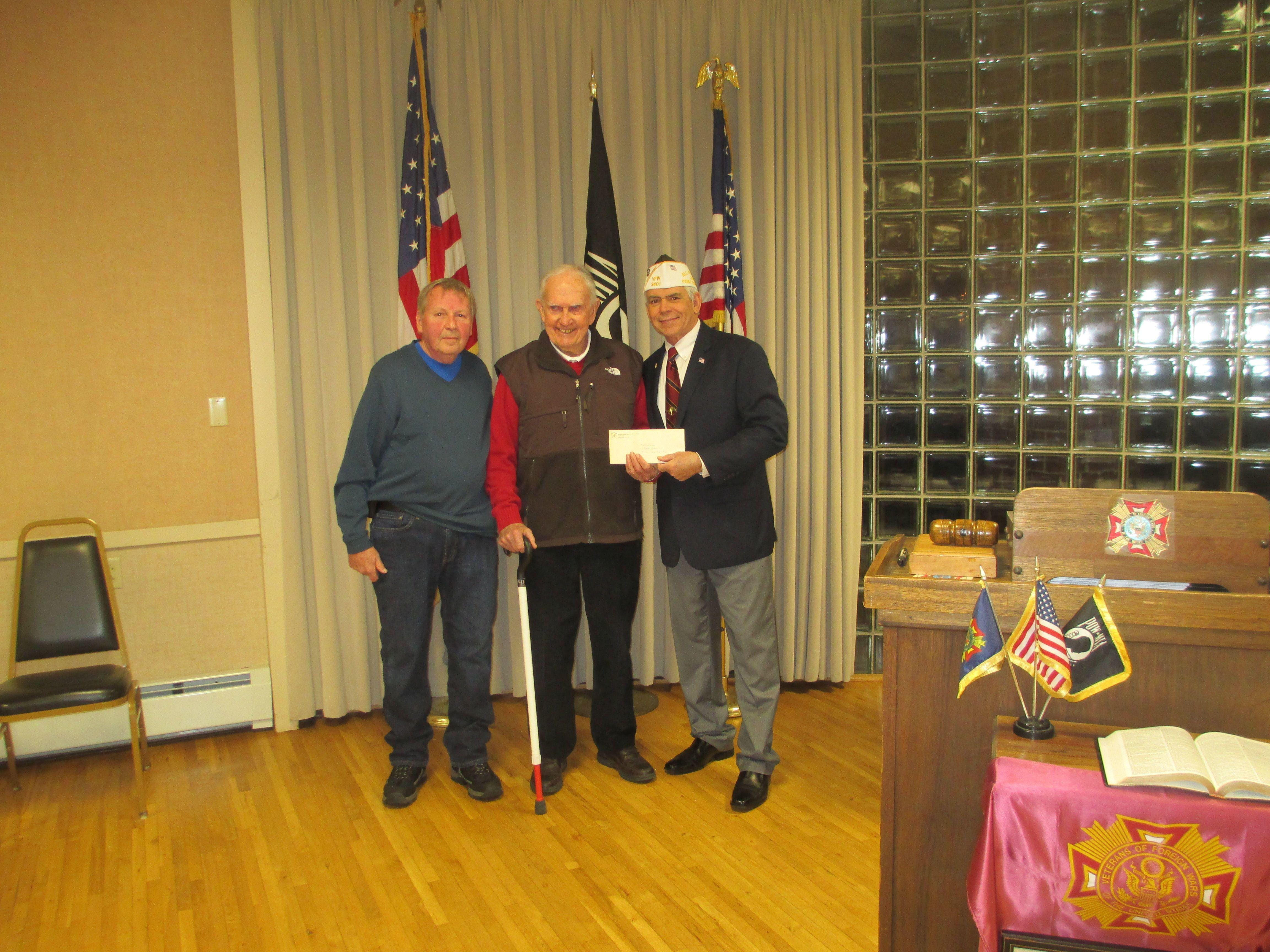 VFW Post Morris Plains receives a donation from Morris Plains Museum