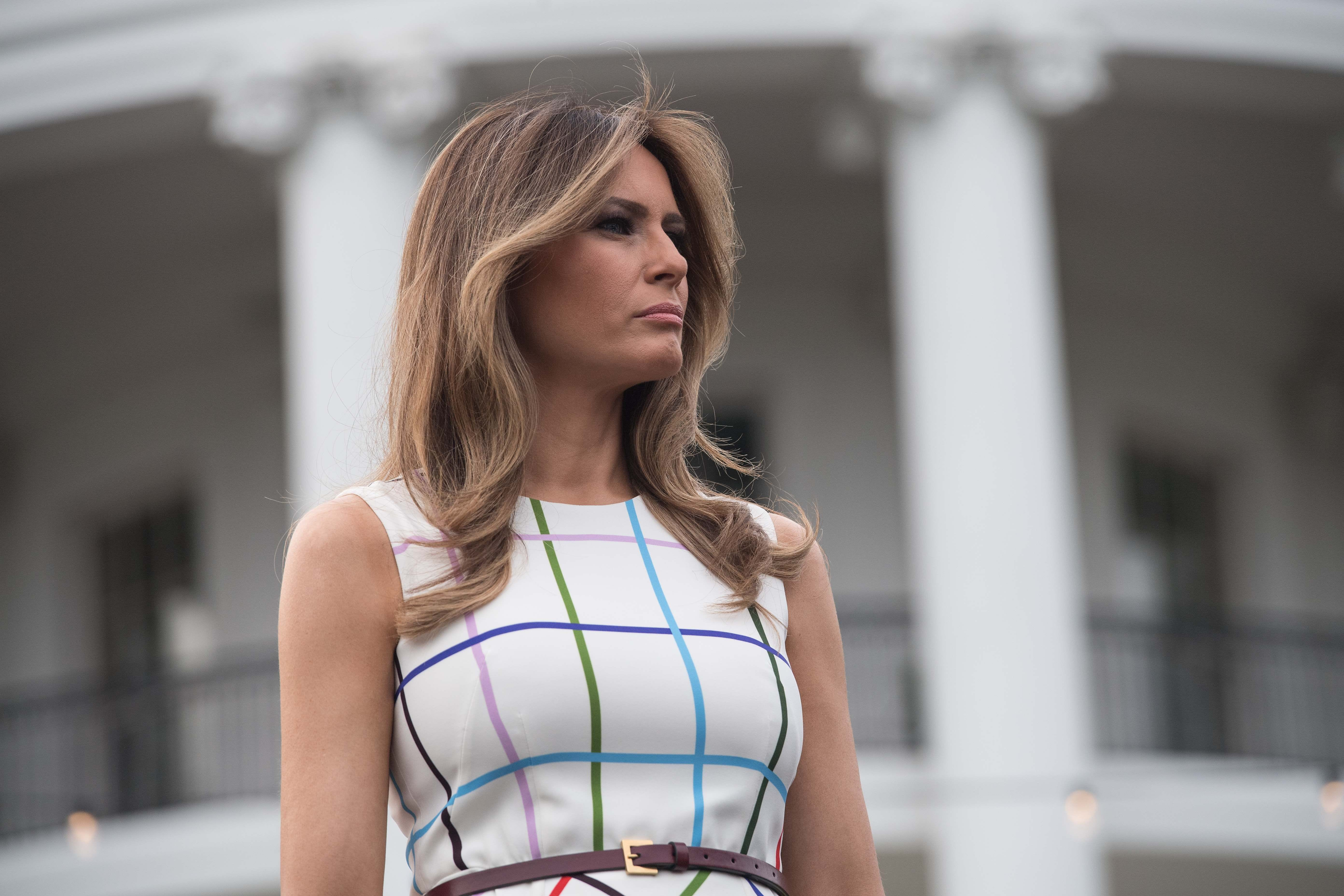 Melania Trump sports chic, colorful dress at Congressional Picnic