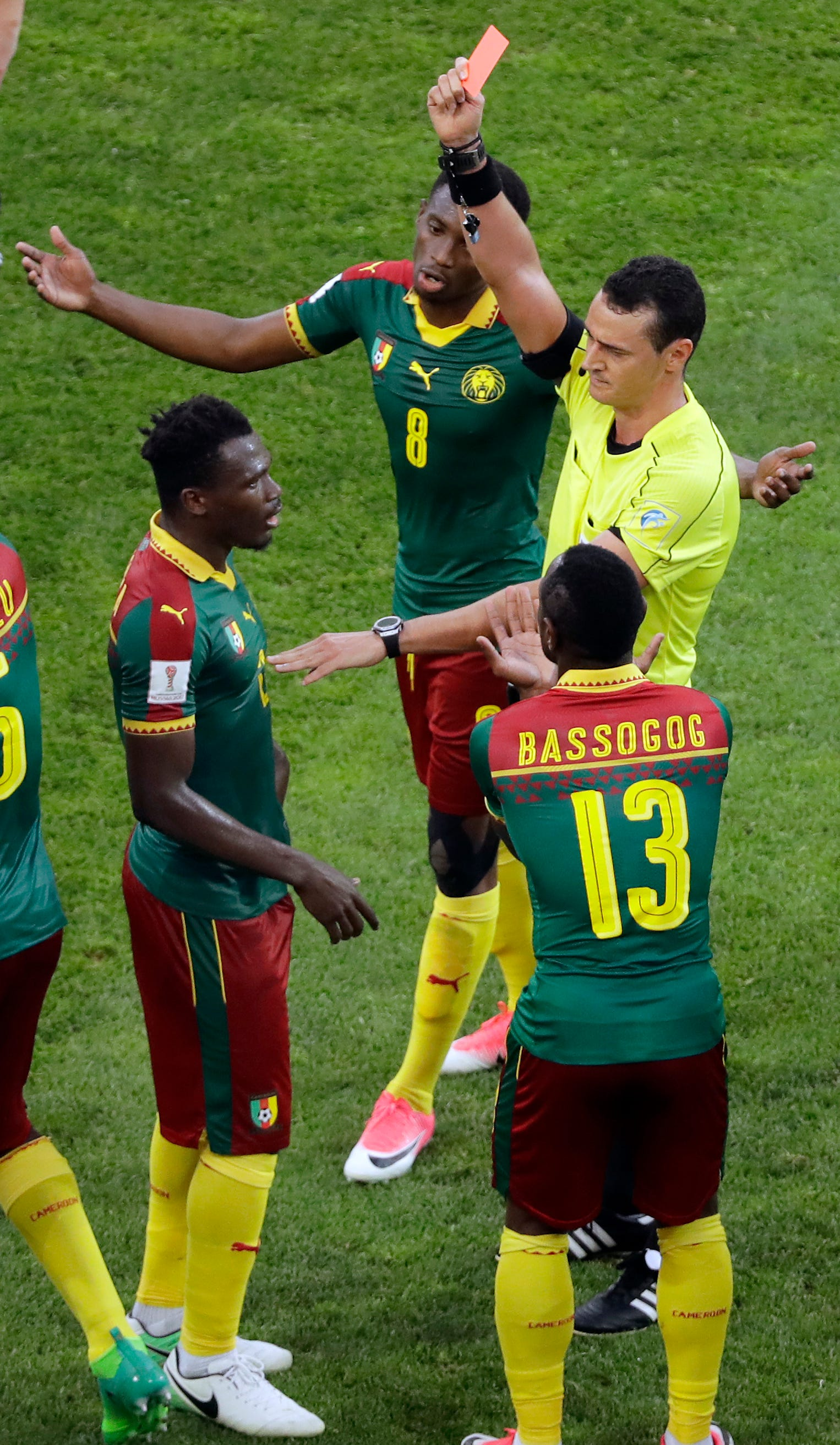 Video review used to show red card to Cameroon defender