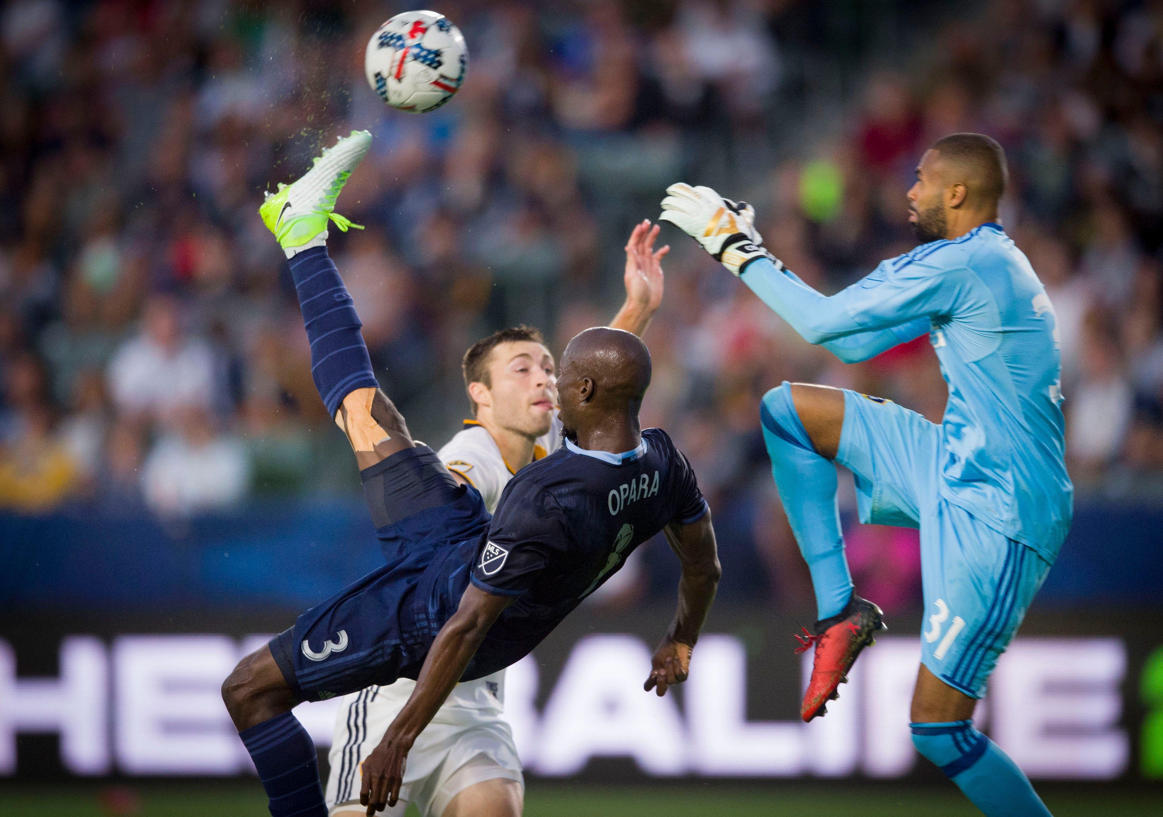 Kansas City's Ike Opara scores acrobatic goal