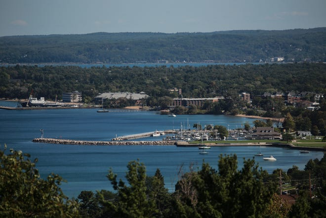 Boats are seen in the Grand Traverse Bay in Traverse City on September 22, 2015.