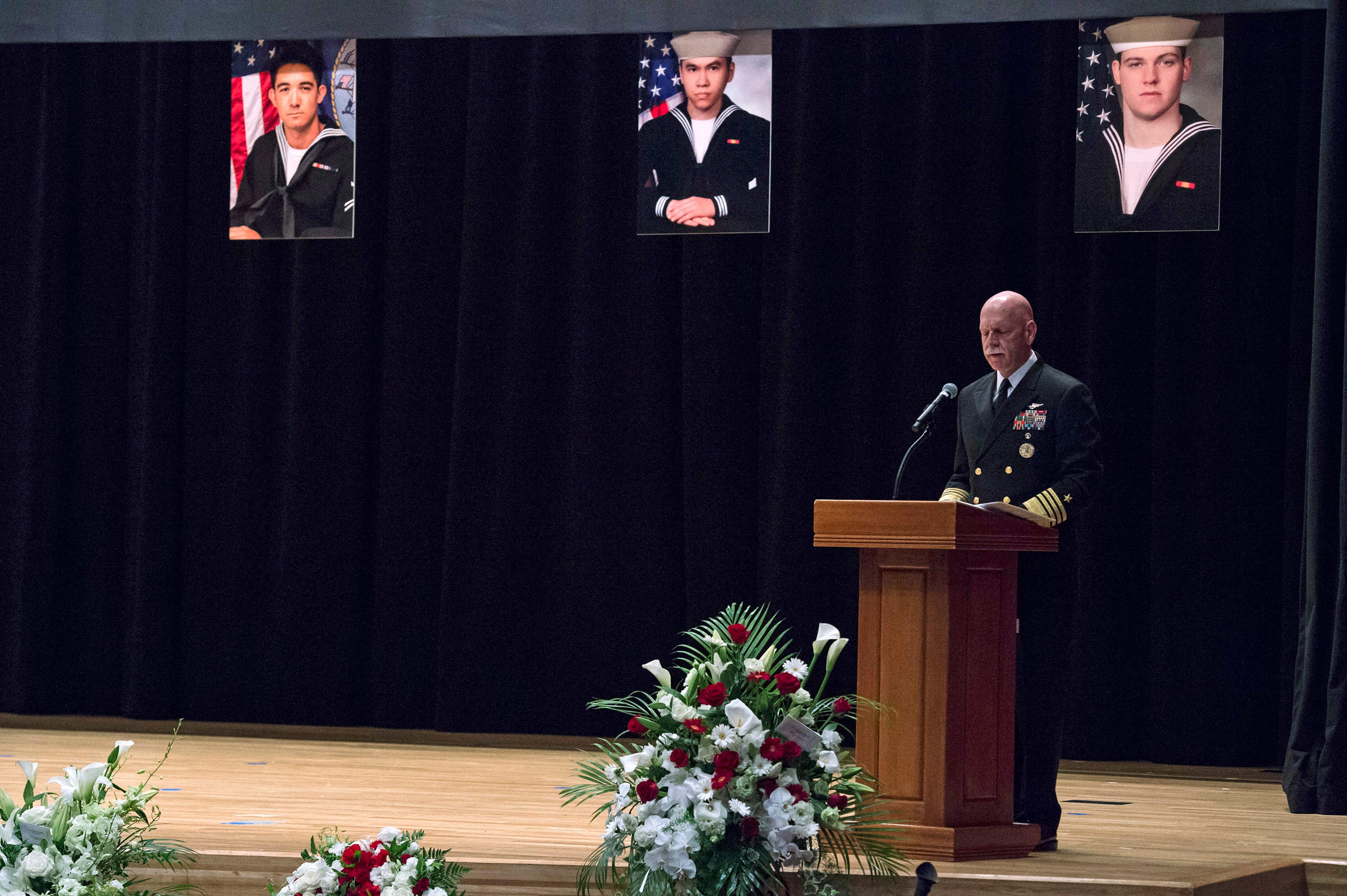 U.S. Navy holds memorial for sailors killed in ship crash in Japan