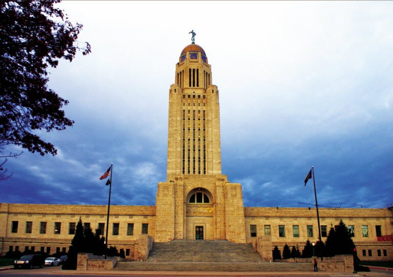 Nebraska's state capitol building, where the state flag was flown upside down for 10 days straight.