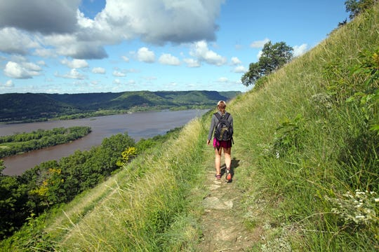 Trails at Perrot State Park lead to the top of Brady's Bluff, with views of the Mississippi River and Trempealeau Mountain.