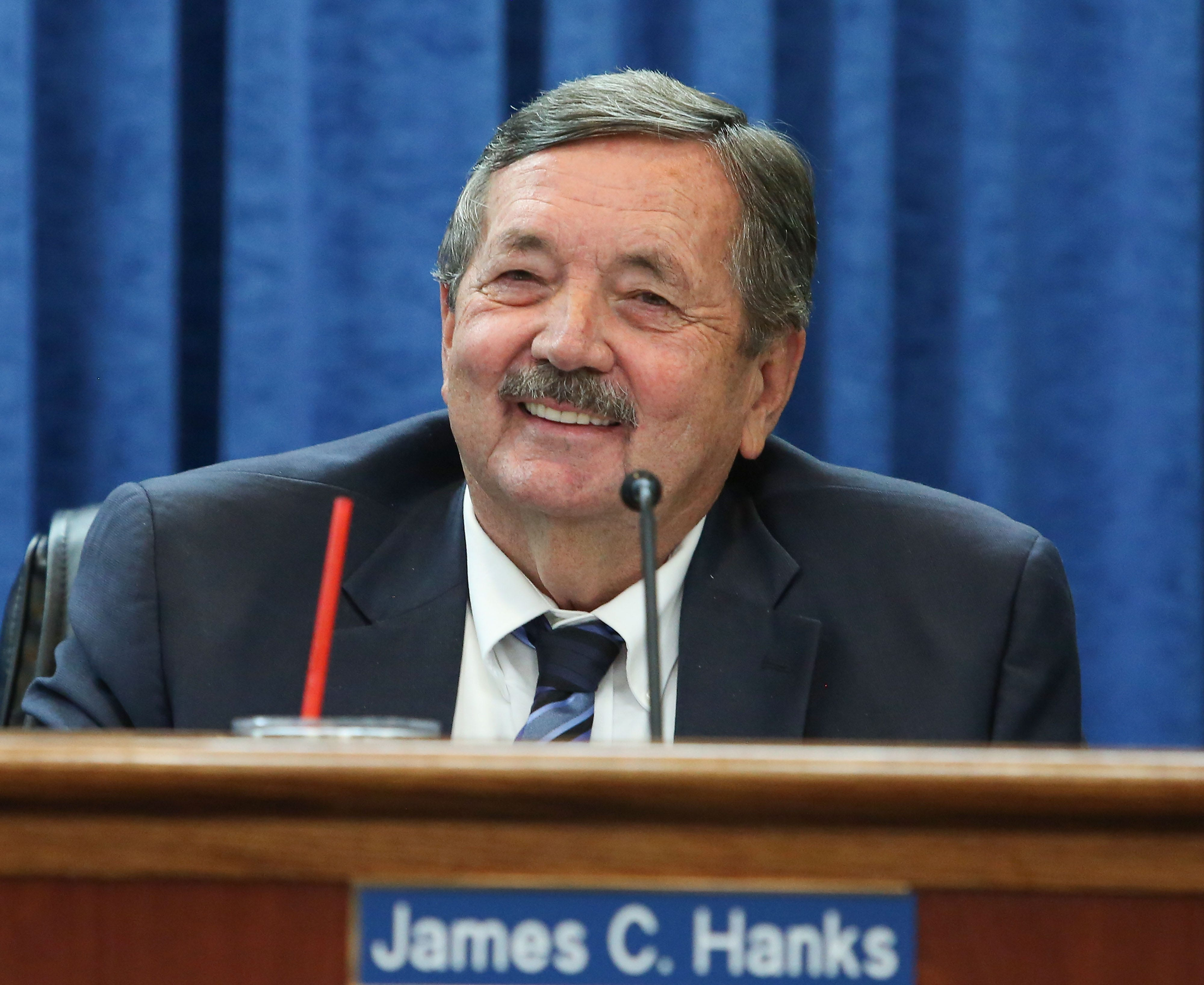 Jim Hanks of the Imperial Irrigation District's board of directors, seen at a board meeting on July 18, 2017.