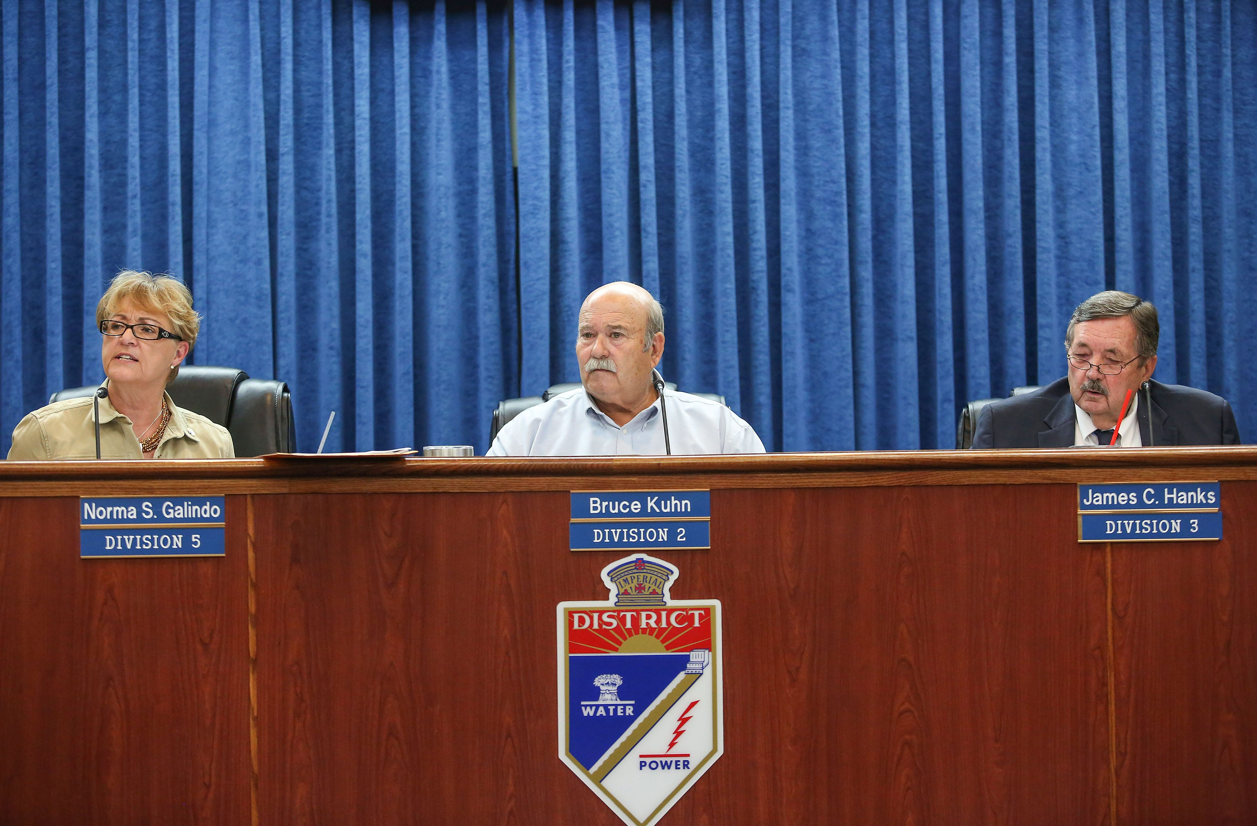 From left: Imperial Irrigation District board members Norma Sierra Galindo, Bruce Kuhn and Jim Hanks, seen at the July 18, 2017 board meeting.