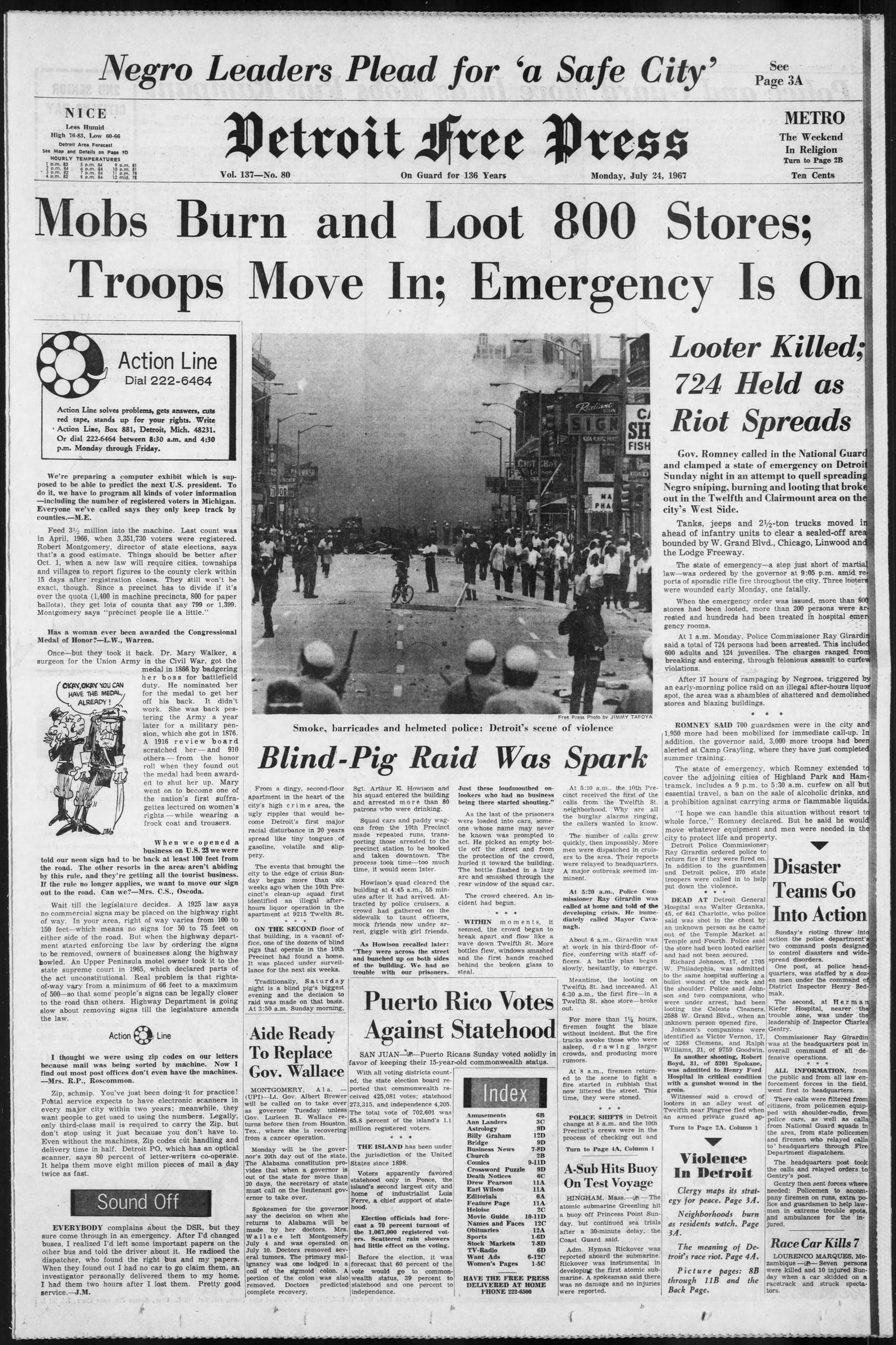 Detroit Free Press pages during the 1967 riots