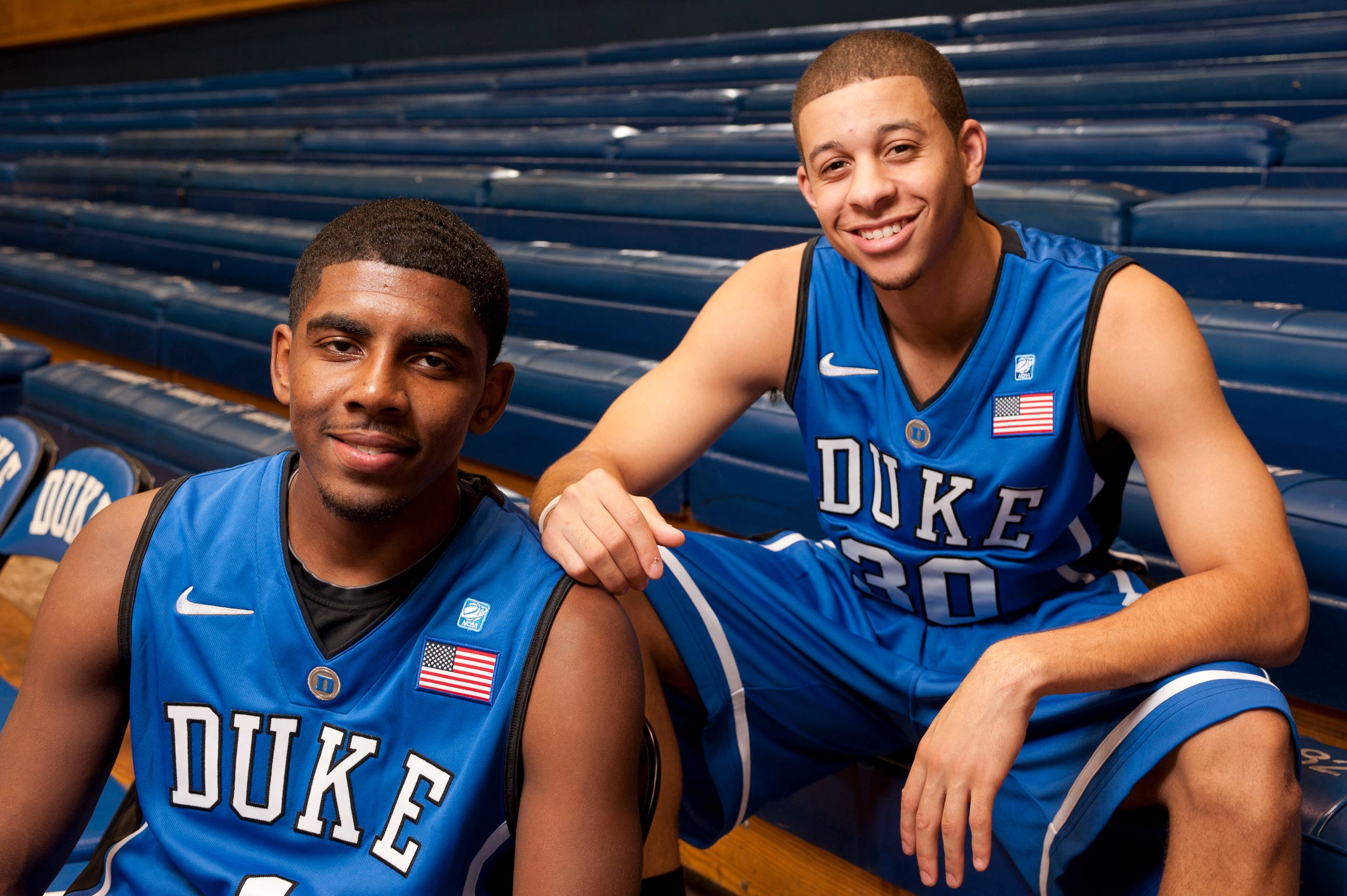8ce2adc43b60 2010  Kyrie Irving and Seth Curry pose for photos in Cameron Indoor Stadium.