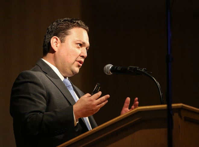 Coachella Mayor Steven Hernandez gives the state of the city speech at the Spotlight 29 Casino in Indio on Thursday, July 27, 2017.