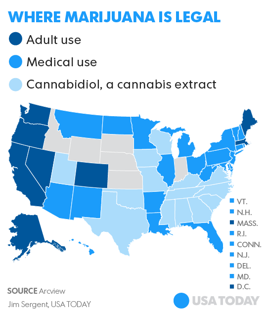 Whats The Big Deal With Legal Pot No One Knows Yet - Us map of legal weed 2017