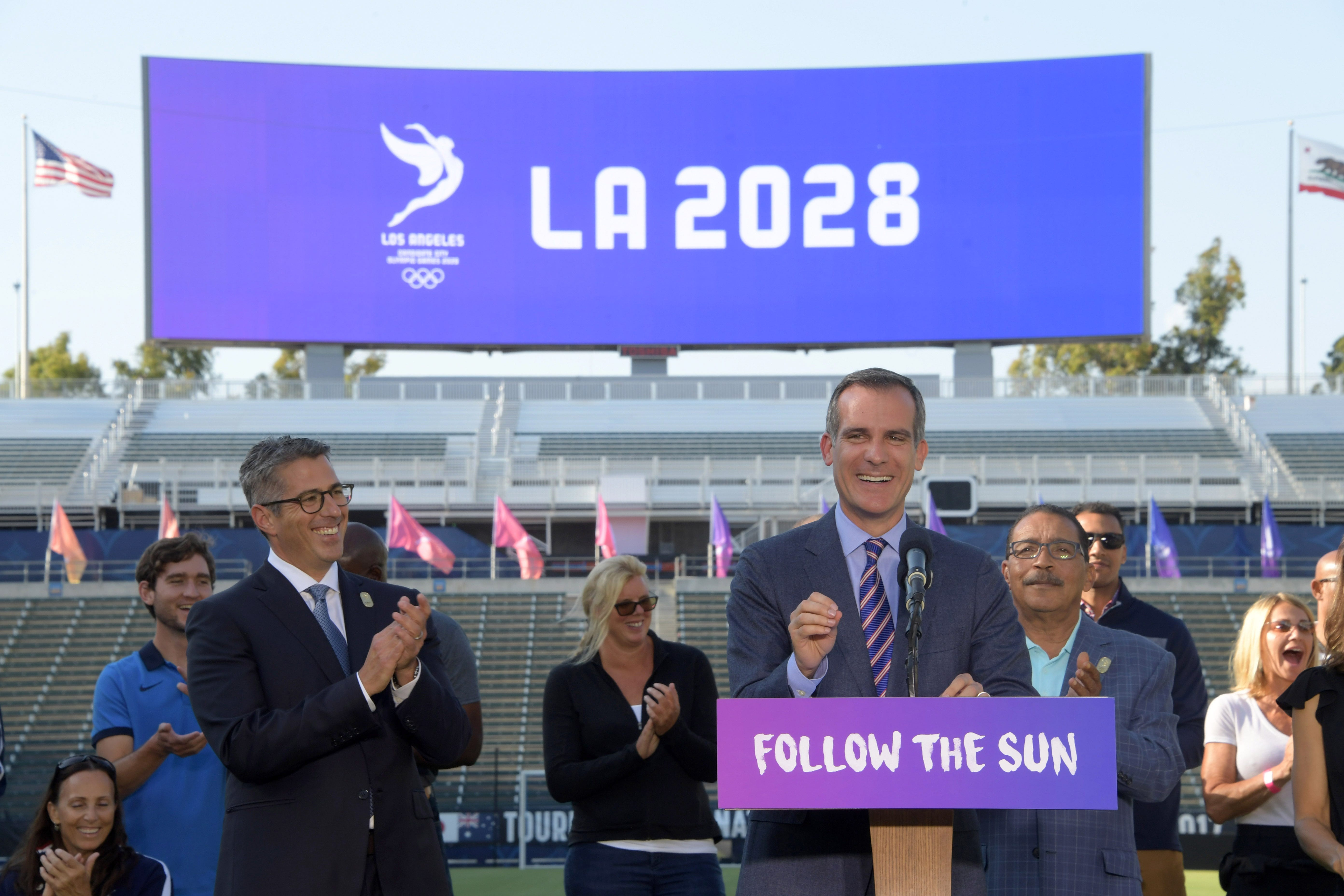 636371373051725123-USP-OLYMPICS-LOS-ANGELES-2028-OLYMPIC-AND-PARALYM-92758751 L.A. mayor: City to get more than $2 billion from IOC for hosting 2028 Games