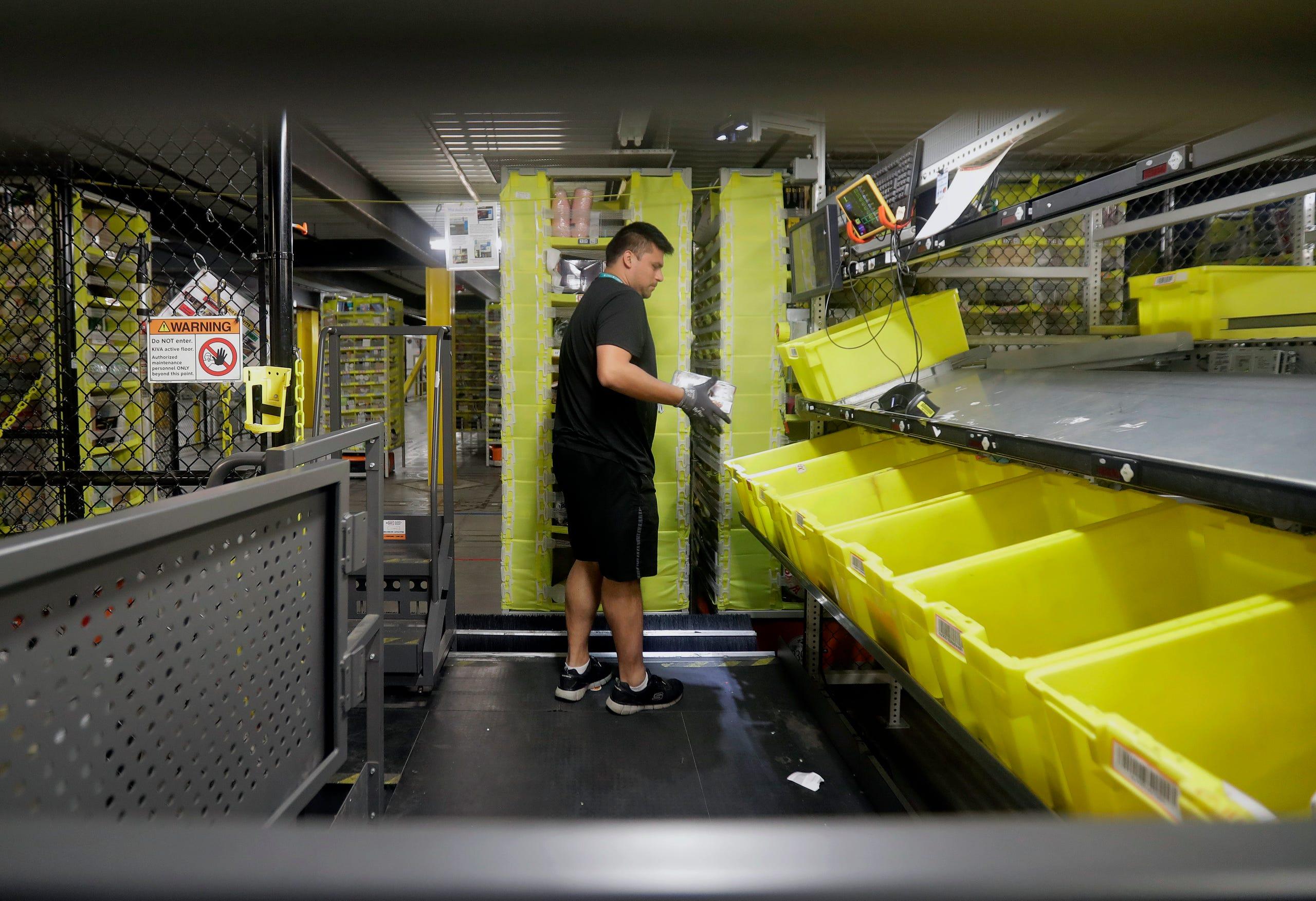 A look inside an Amazon warehouse