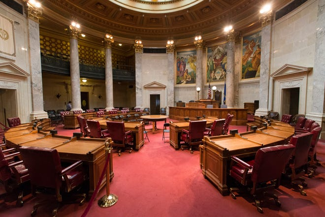 The Senate chambers in the state Capitol in Madison, Wis.