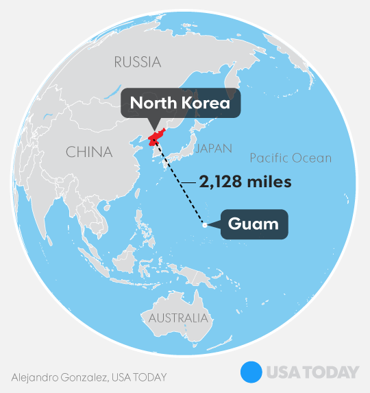 Guam Reacts To North Korea Nuclear Threat With Faith In US Military - Map of us trump v hil