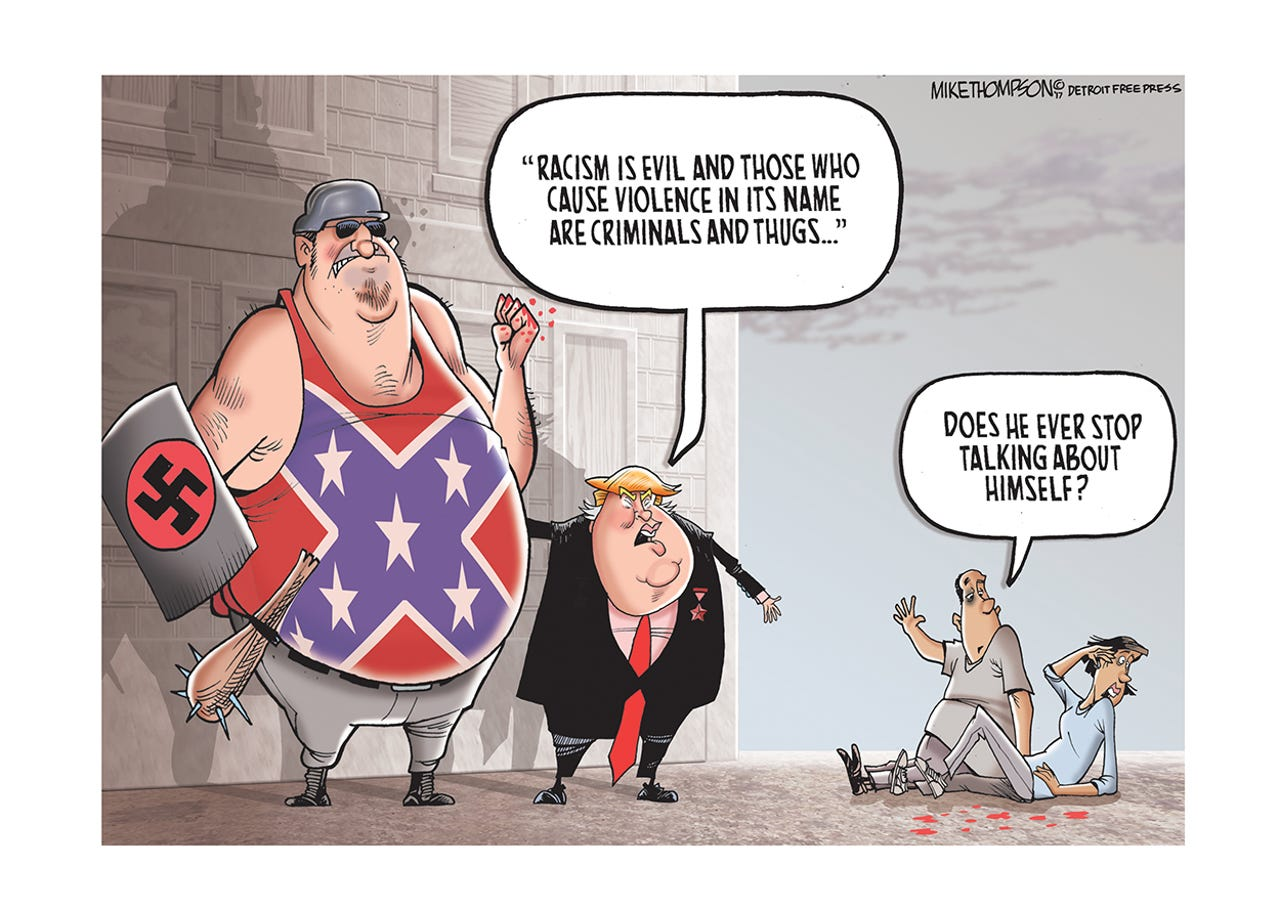 Trump condemns racist violence...two days too late.