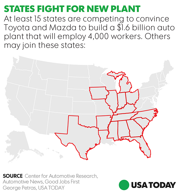 ToyotaMazda Auto Plant Which State Has Best Shot At  Jobs - Map of us auto manufacturers