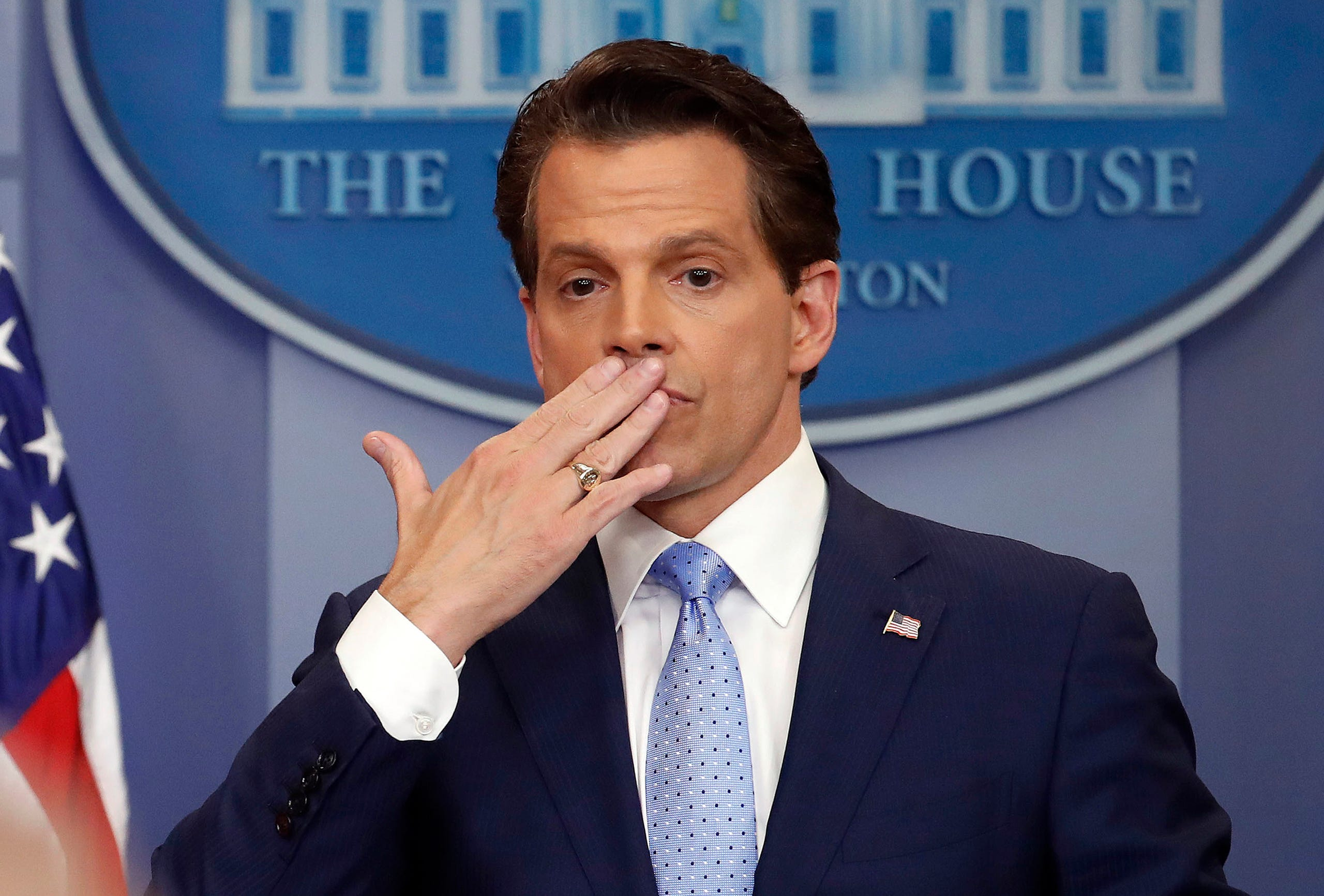On July 31, Anthony Scaramucci left his post as White House communications director after just 11 days on the job.  A person close to Scaramucci confirmed the staffing change just hours after President Donald Trump's new chief of staff, John Kelly, was sworn into office.  In this July 21, 2017 photo, incoming White House communications director Anthony Scaramucci,blows a kiss after answering questions during the press briefing in the Brady