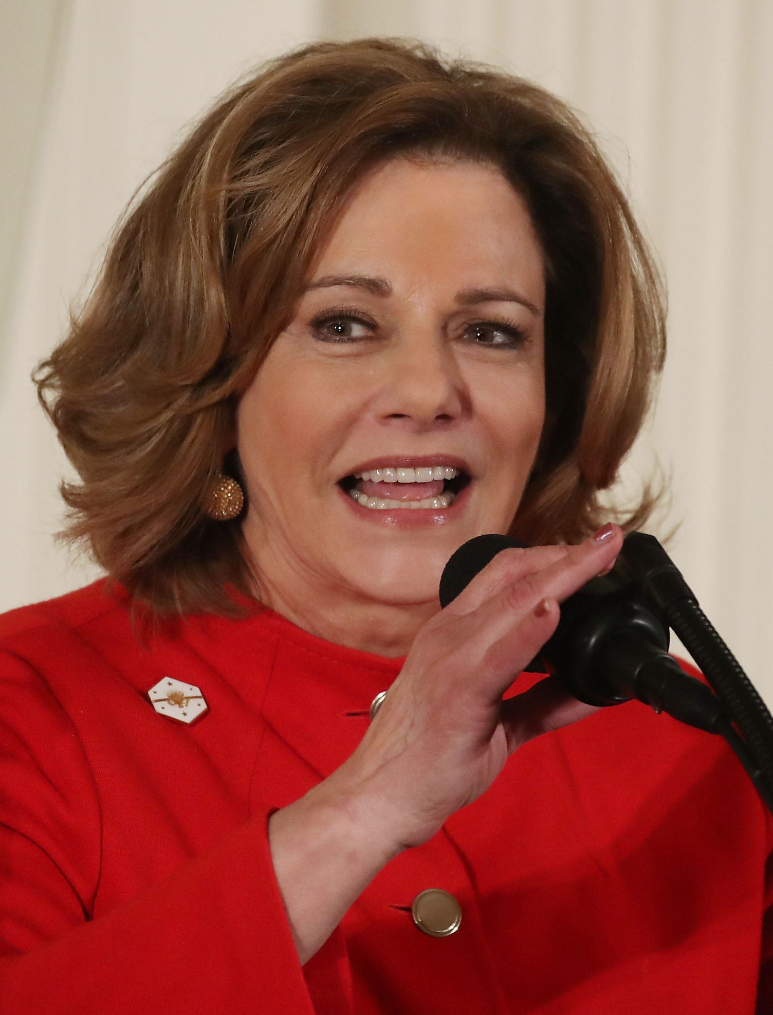 Deputy National Security Advisor, K.T. McFarland speaks during an event celebrating Women's History Month, in the East Room at the White House, March 29, 2017, in Washington, DC. On April 9, 2017, McFarland was asked to step down and serve instead as ambassador to Singapore.