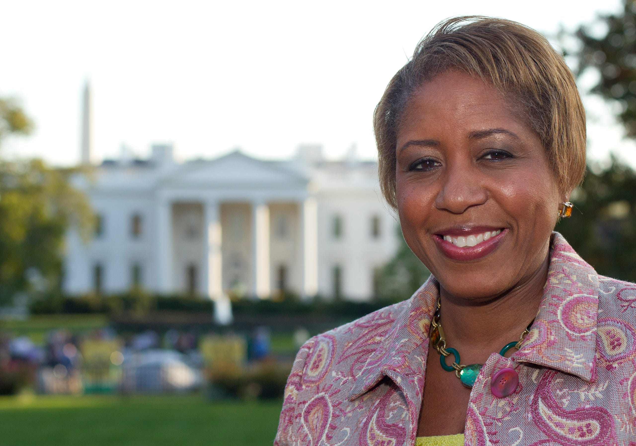 On May 5, 2017, the White House fired White House chief usher Angella Reid, the person responsible for managing the residence and staff and overseeing events. No reason was given for Reid's dismissal. In this Oct. 18, 201  photo, the then-incoming White House chief usher Angella Reid is photographed in Lafayette Park across from the White House in Washington.