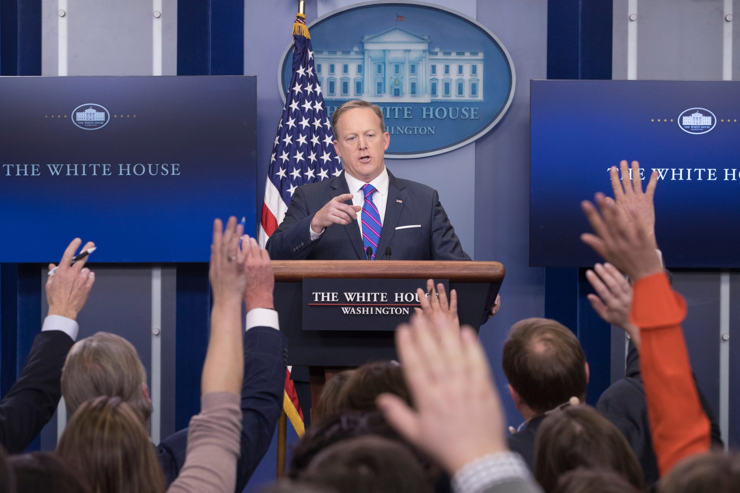 On July 21, Sean Spicer quit his job as White House press secretary after President Donald Trump decided to tap Anthony Scaramucci as the White House communications director, according to two White House officials. Seen here, Spicer takes a question during the daily news conference at the White House on Feb. 14, 2017.