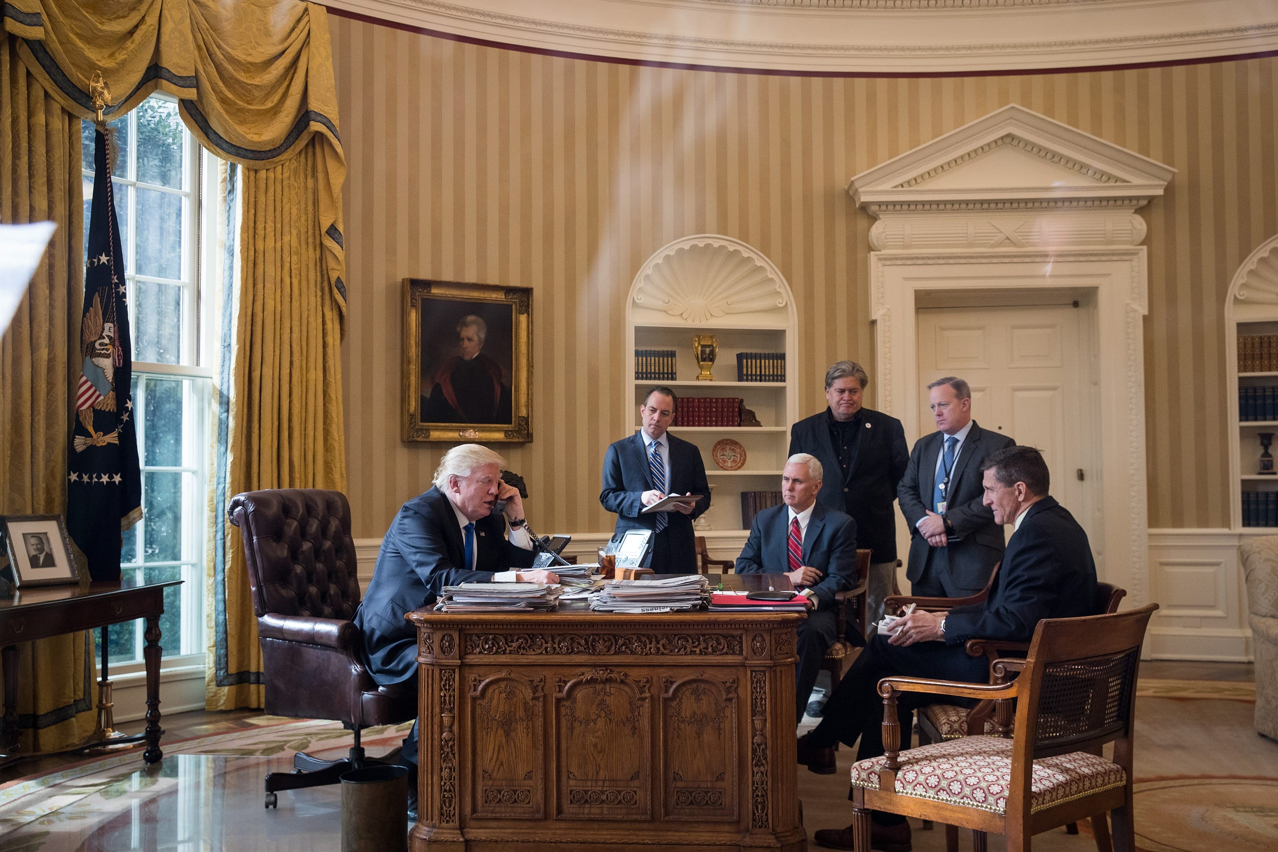 All of these President's men have taken their leave save Vice President Pence.  President Donald Trump speaks on the phone with Russian President Vladimir Putin in the Oval Office of the White House on Jan. 28, 2017, along with Vice President Pence and Chief of Staff Reince Priebus, Chief Strategist Steve Bannon, Press Secretary Sean Spicer and National Security Advisor Michael Flynn.    In the first seven months of his administration, Trump has seen the departures of many senior aides including Priebus, Bannon, Spicer and Flynn.