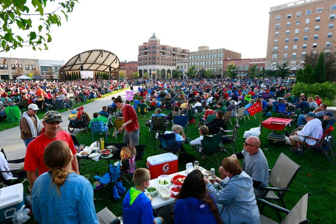 People pack The 400 Block during the last Concert on the Square event Wednesday, August 23, 2017, in downtown Wausau.