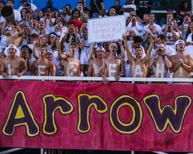 Riverdale fans support the Warriors during last week's game at Franklin. The Warriors battle at home against Siegel in a 3-6A contest Friday.