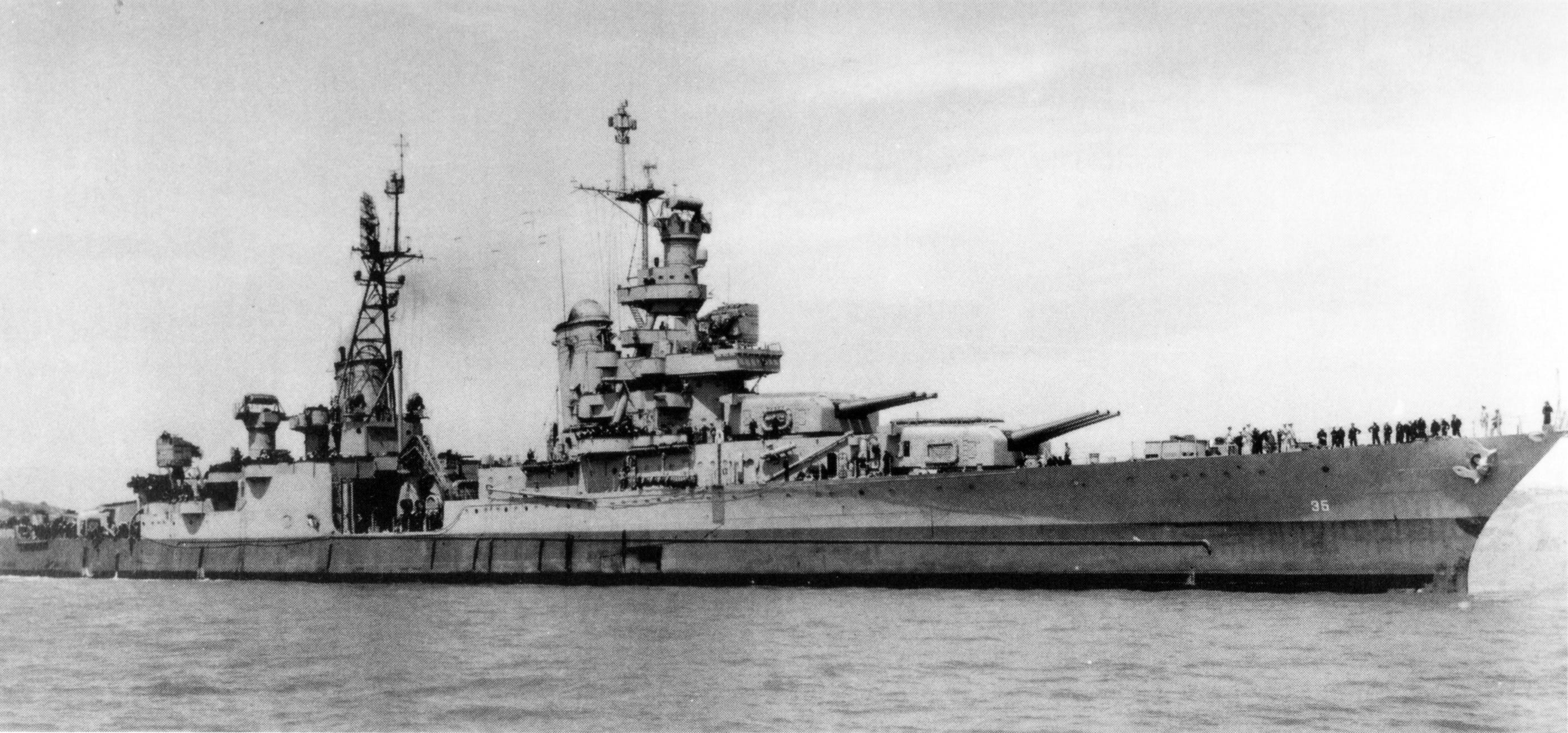 The last picture of the USS Indianapolis taken off Tinian Island shortly after it delivered the components of the atomic bomb and before its ill-fated final voyage in July 1945.