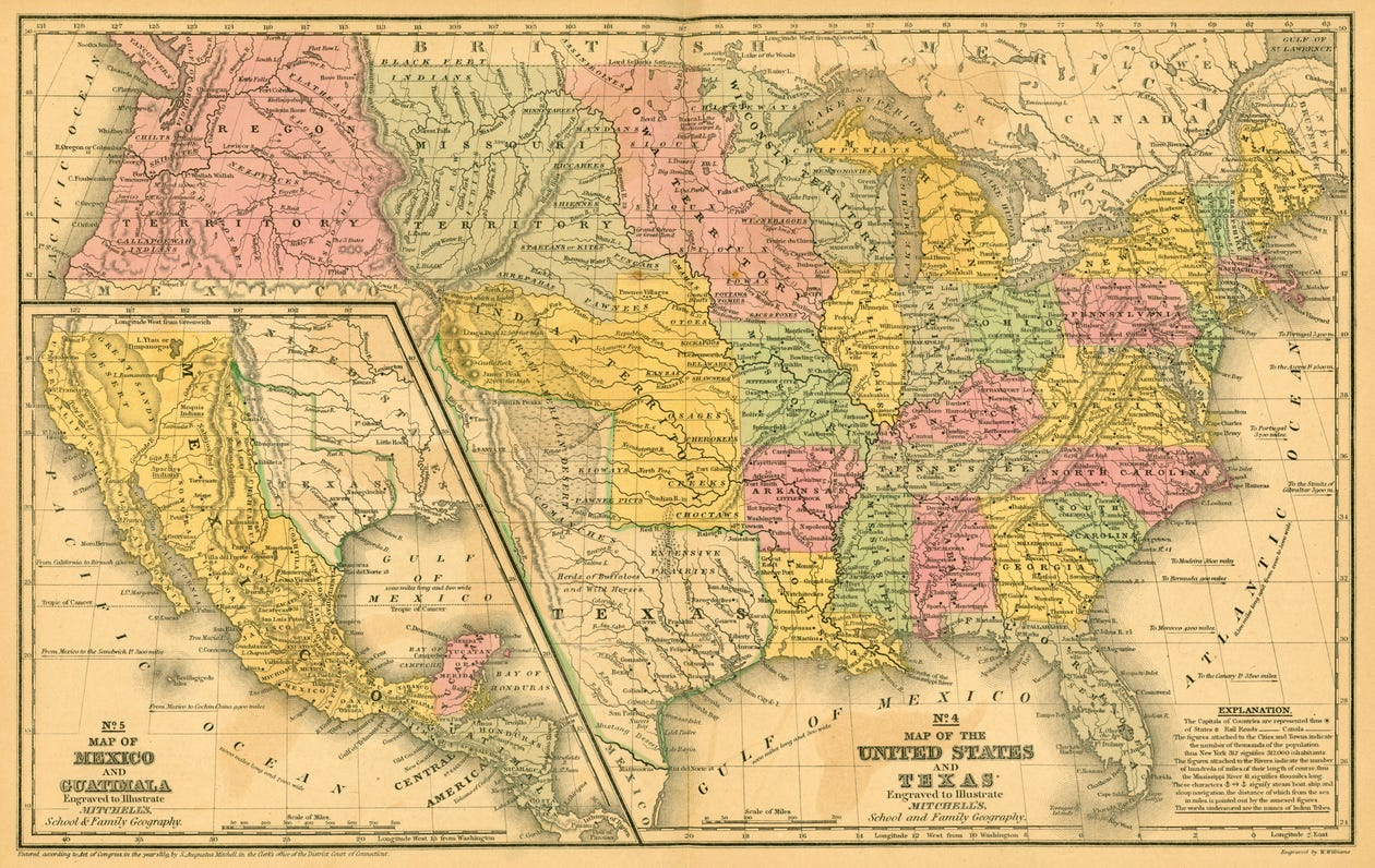 Map Of Texas Mexico.A Moving Border And The History Of A Difficult Boundary