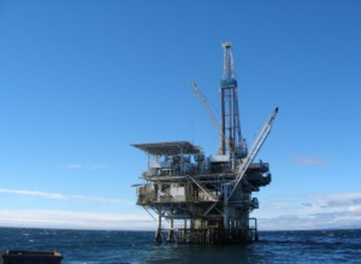 Historic oil platform off Santa Barbara turns into a rusty