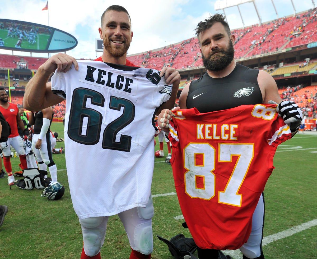 buy popular 56b9f 86515 Jason and Travis Kelce star in new 'NFL Films Presents' video