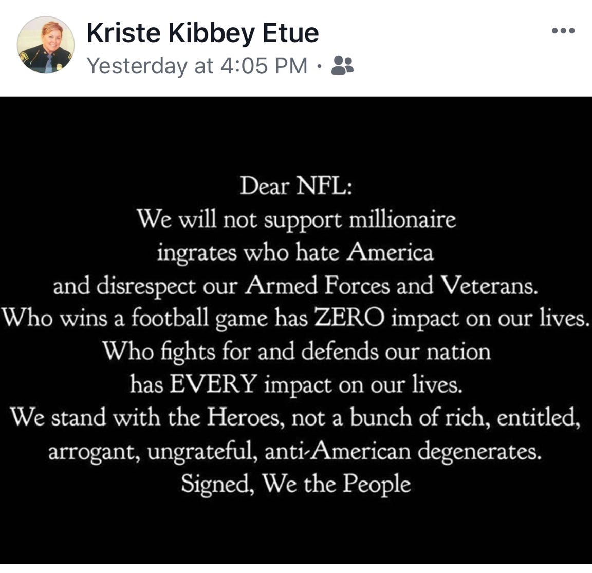 636420396536354719 FullSizeRender msp chief's post nfl players who kneel for anthem are 'degenerates'