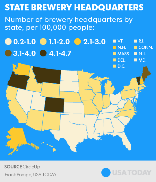 Think Your State Has Suds These Have The Most Craft Beer Breweries - Us-brewery-map