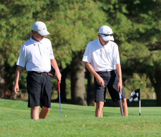 Horseheads golfers Zach Locke, left, and Seth Conway play together in 2017 during a home win against Binghamton at Willowcreek Golf Club in Big Flats.