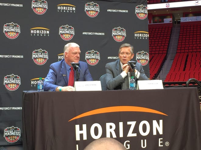 Horizon League commissioner Jon LeCrone, left, and Olympia Entertainment president Tom Wilson speak at basketball media day at Little Caesars Arena, Oct. 6, 2017.