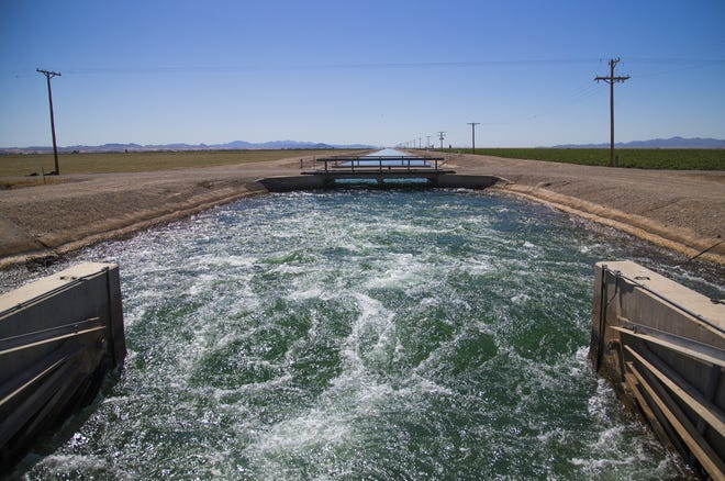 Water flows toward alfalfa fields on the Colorado River Reservation in western Arizona. The Colorado River Indian Tribes receive about 24 percent of Arizona's river water allotment.