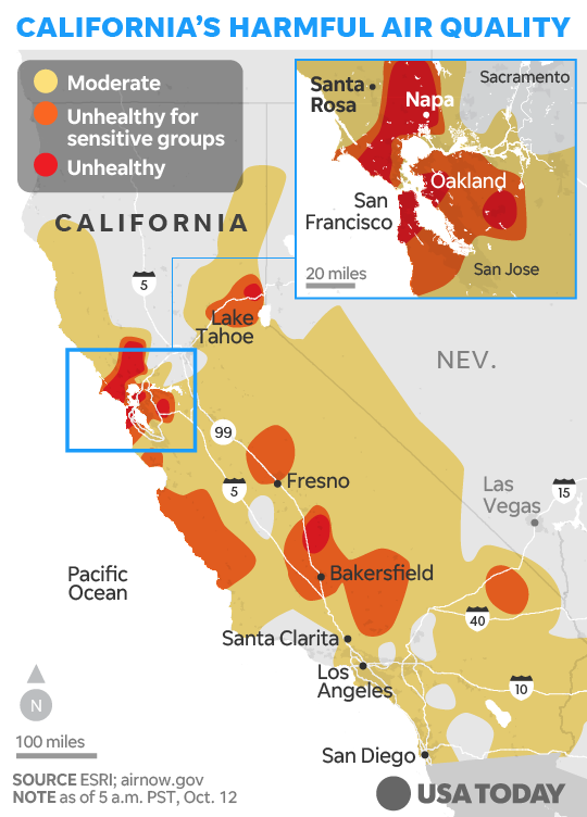 California fire map: How the deadly wildfires are spreading