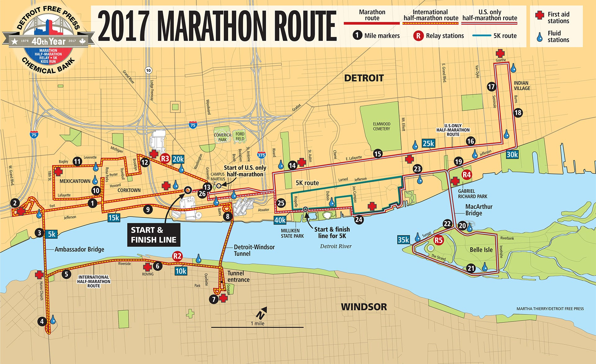2017 Detroit Free PressChemical Bank Marathon map