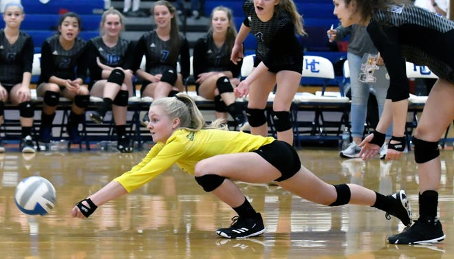 Harper Creek's Kylee Crandall (0) dives for the ball during game action Saturday afternoon.