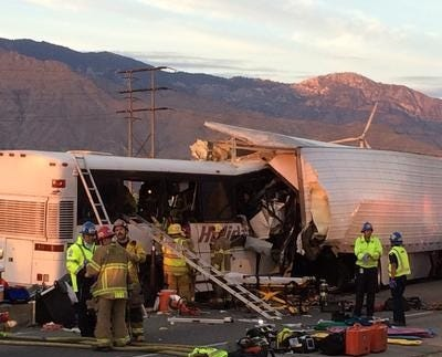 Trucker charged with manslaughter in bus crash that killed 13 people in Palm Springs last year