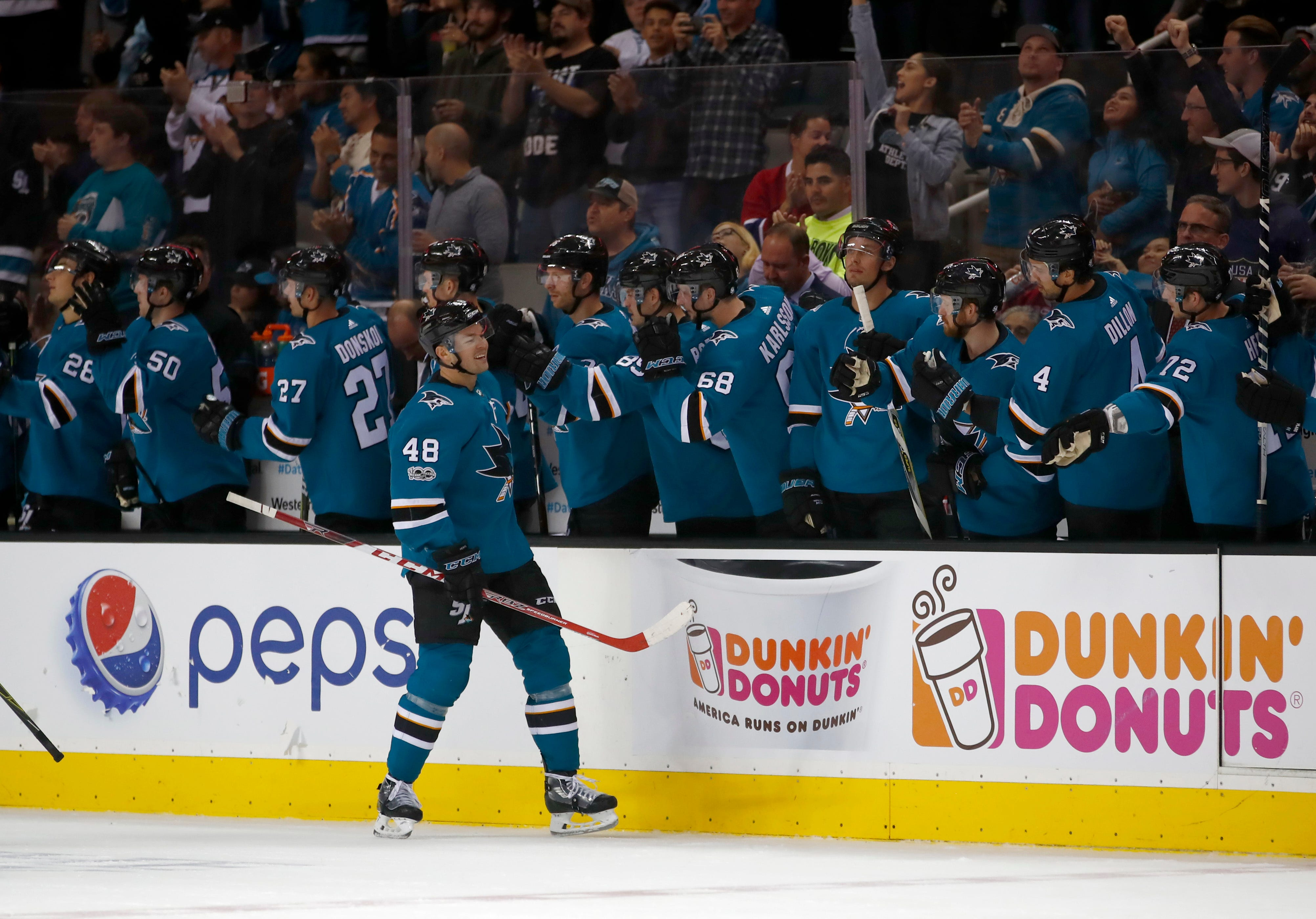 Couture scores twice in Sharks' 5-2 victory over Canadiens