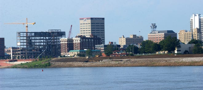 Evansville skyline photographed from the deck of LST 325, on July 21, 2003.
